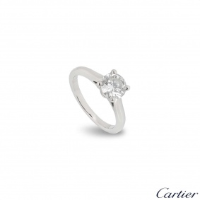 Cartier Platinum Diamond 1895 Solitaire Ring 1.09ct H/VVS2 XXX